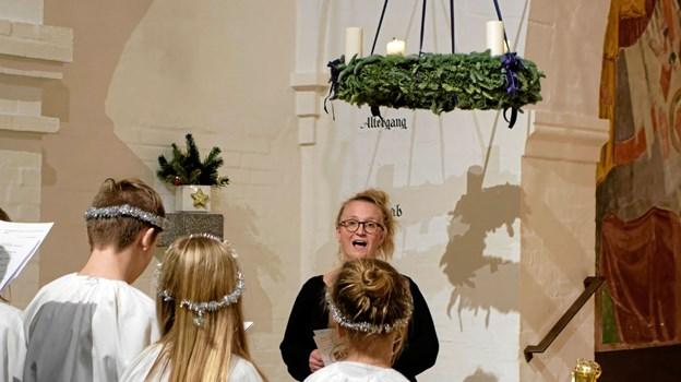 "Kirkesanger Katrine Bach Skovmand synger solo ""Pie Jesu"". Foto: Niels Helver Niels Helver"