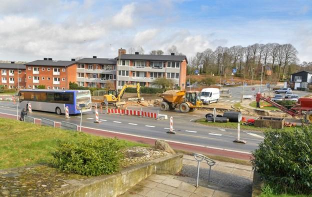 Afspærringen ind til Mariagervej i Hobro åbner igen mandag aften. Foto: Jesper Thomasen