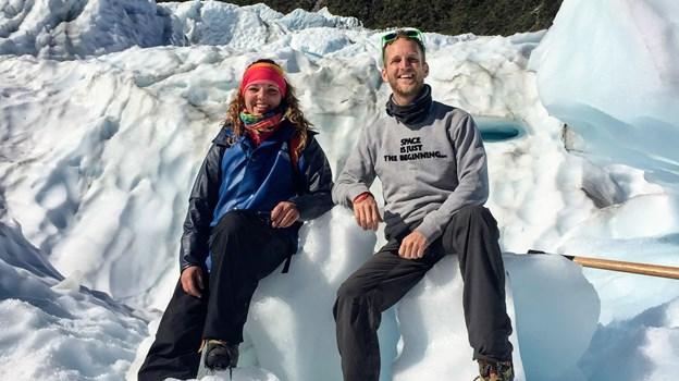 Det var en stor oplevelse for parret at gå på opdagelse på gletcheren Fox Glacier. Privatfoto