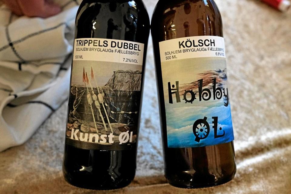 Solhjem Bryglaug har til lejligheden fremstillet to specialøl. En kunst-øl på 7,2 procent og en hobby-øl på 6,8 procent. Foto: Niels Helver Niels Helver