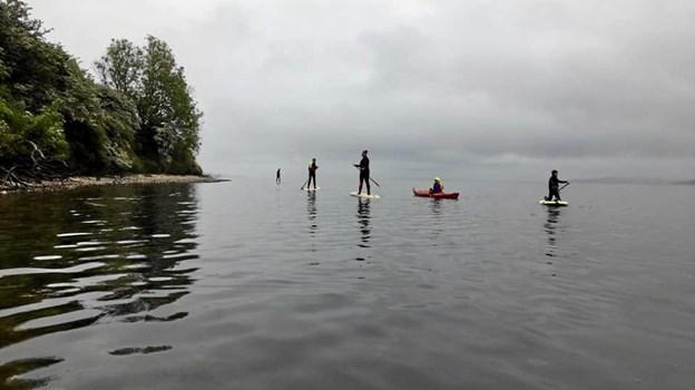 Her er stand up padlere og kajakroere på klubtur på fjorden. Fotos: Privat.