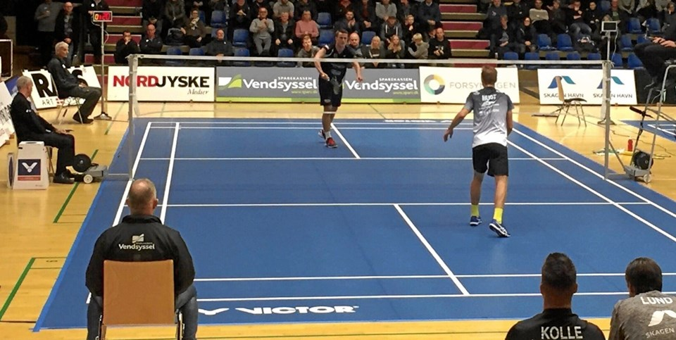 Det blev en afgørende kamp i herresinglen mellem Team Skelskær Slagelse og Vendsyssel Elite Badminton. Privatfoto