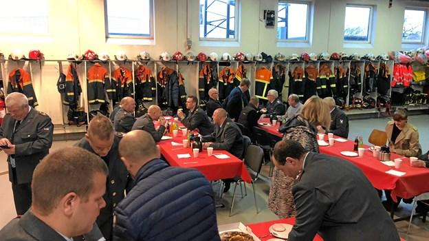 Skagen Brandstation lagde traditionen tro lokale til årets nytårsparole. Privatfoto.