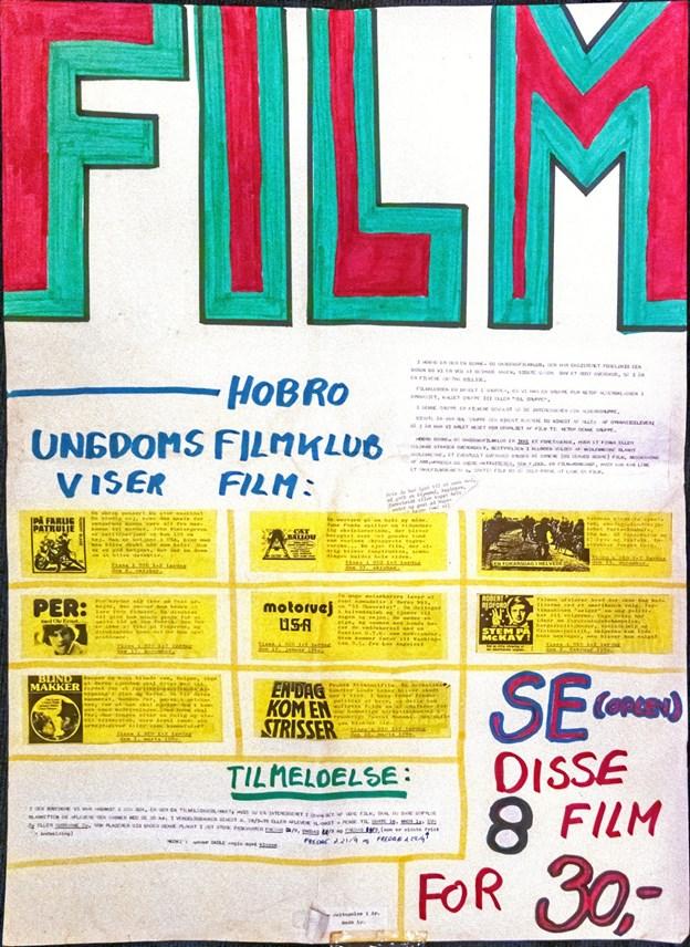 Gamle filmplakater som denne kunne ses til 40 års jubilæet. ?Privatfoto