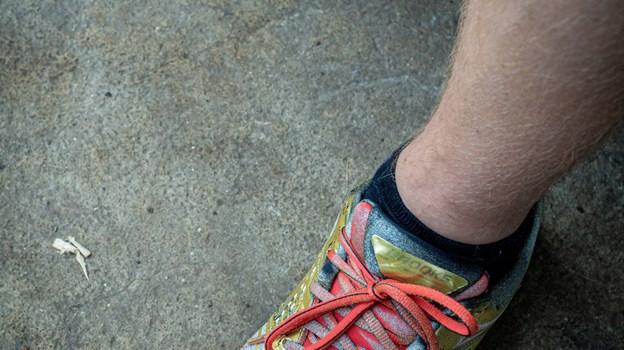 Løbeskoene blev grebet lige efter, at han var indlagt og fik diagnosen sclerose. Foto: Martin Damgård Martin Damgård