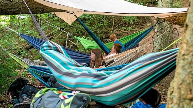 På lørdag 25. maj er der mulighed for at prøve at sove ude. Man kan blandt andet sove i hængekøjelejren, der bliver indviet.Foto: Det Danske Spejderkorps