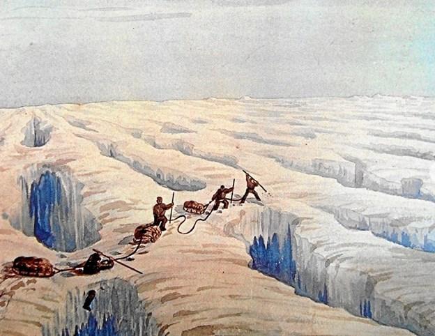 Det tidligste billede fra Grønlands indlandsis - en akvarel fra 1878 af Andreas Kornerup. I 1751 - cirka 125 år tidligere - var Jacob Severins svoger - Lars Dalager - den første europæer på indlandsisen sammen med fem grønlændere i tre dage.