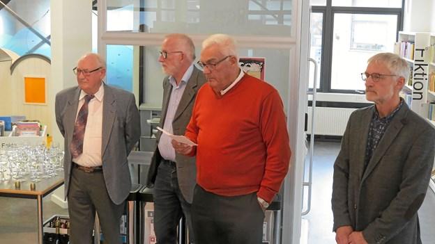Forfatterne Peter Ussing, Hans Fink, Kristian Andersen, som bød velkommen til udgivelsen samt Egon Kjøller Nielsen. Foto: Kirsten Olsen