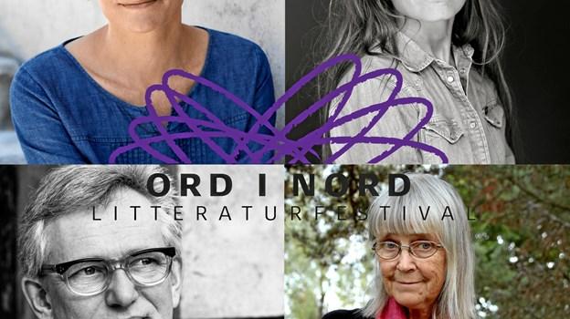 Litteraturfestivalen Ord i Nord i Skørping kan denne gang byde på møder med (øverst fra venstre) Malene Ravn og Iben Mondrup og nederst Søren Ulrik Thomsen og norske Britt Karin Larsen. PR-foto