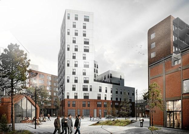 De 95 lejligheder, som nu er klar til udlejning, er fordelt på 13 etager.