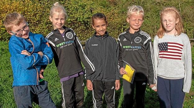 Magnus, Nadja, Nellie, William og Isabella er klar til dagens store udfordringer med Xtreme Børnehørm. Foto: Niels Helver