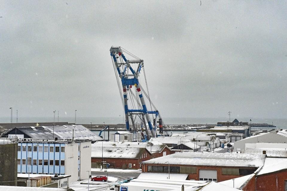 Matador 3 rager 50 meter op og fylder godt i havnebilledet. Foto: Ole Iversen Ole Iversen