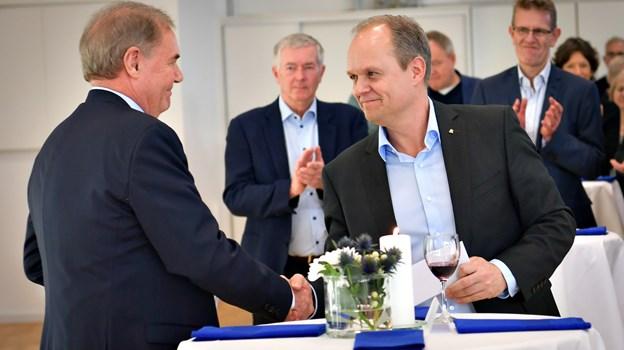 Efter 20 år som administrerende direktør og opbygger af Frederikshavn Maritime Erhvervspark, er det nu slut for Kaj Christiansen, som overlader posten til Martin Pedersen. Foto: Kim Dahl Hansen