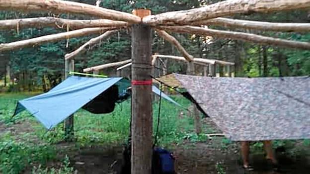 Hængekøjelejren ved Nebel pladsen i Vilsbøl Klitplantage.Privatfoto Ole Iversen