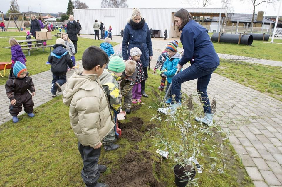 Leder på Mælkevejen, Marianne Pape (th med greben) glæder sig over mere grønt liv på legepladsen. Foto: Kim Dahl Hansen