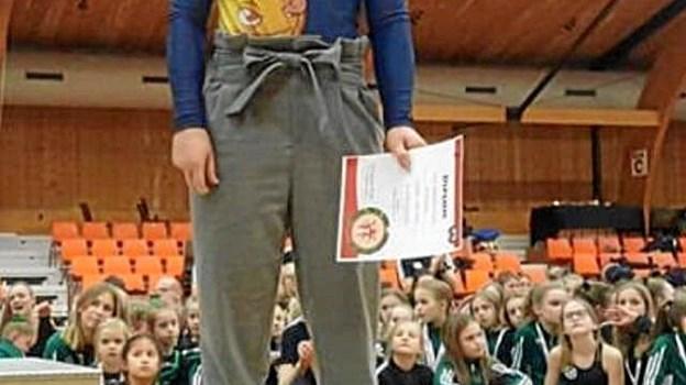 Springgymnast Emile Vestergaard opnåede bronze ved stævnet forleden i Randers. Privatfoto