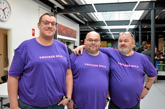 """Tre af arrangørerne bag truckerbold - fra venstre: Søren Hjort """"Banjo"""", Søren Poulsen og Jørgen """"Pot"""" Pedersen. ?Foto: Jesper Bøss Jesper Bøss"""