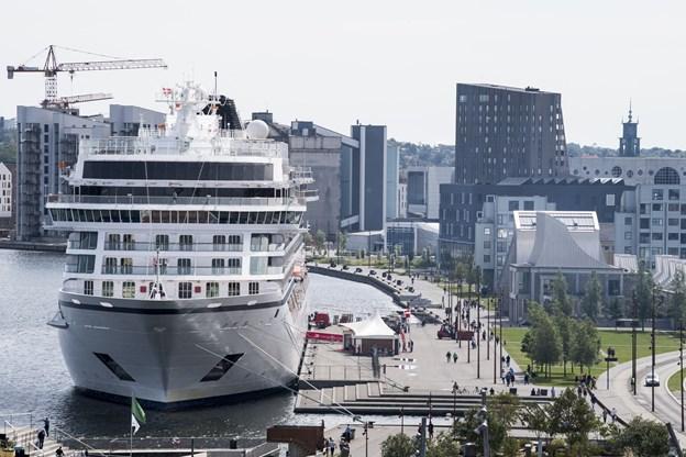 Der kommer næste år ikke færre end 35 krydstogtskibe til Aalborg, og det er det næsthøjeste antal anløb nogensinde - kun overgået af 2017-sæsonen med 36 besøg. Arkivfoto: Henrik Bo