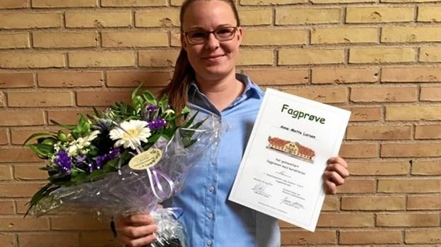 Anne-Mette Larsen fra Frederikshavn bestod sin fagprøve i Bygma med et flot 12-tal.