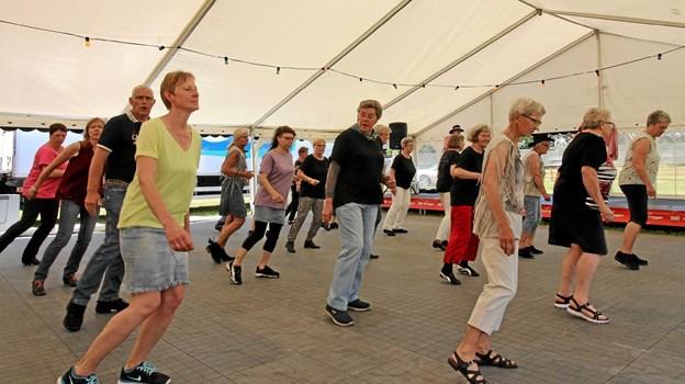 Hele eftermiddagen var der linedance i det glohede telt. Det klarede de energiske dansere uden problemer. Foto: Jørgen Ingvardsen Jørgen Ingvardsen