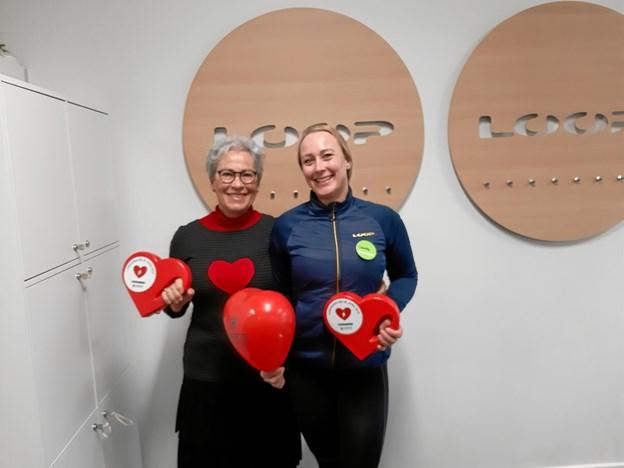 Lisbeth Stenstrop Jensen, Rebild Hjerteforenings formand (tv) og Camilla Chander, Loop Fitness Støvring (th) var koordinatorer i Skørping og Støvring. Privatfoto