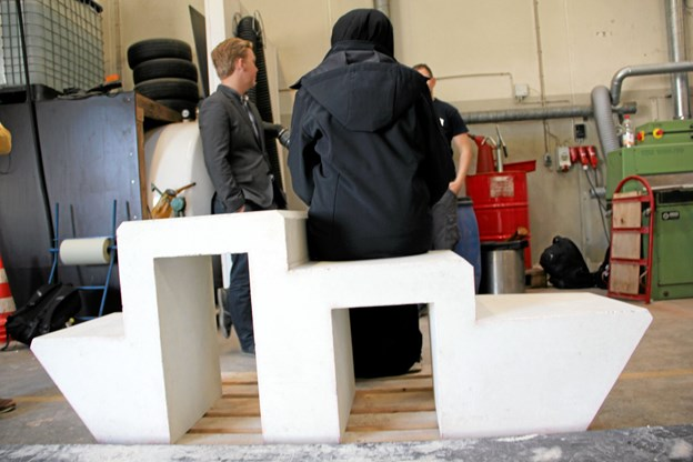 Sådan kunne en løsning se ud - siddeskulpturen her er fra workshoppen i 2015.