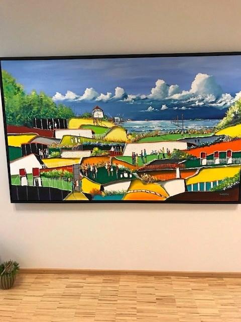 Kunstneren Sten Karlsen har leveret flere bidrag til nutidskunsten på væggene på Hospice Vendsyssel. Foto: Jesper Larsen