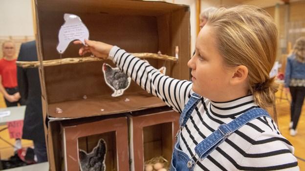 Caroline fra 6. klasse på Øster Hornum Skole viser hvordan madaffald kan genanvendes som foder til høns.