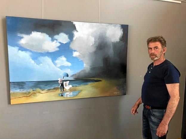Kjeld Jørgen Jensen udstiller her i forsommeren i Mariagerfjord Golfklub. Privatfoto