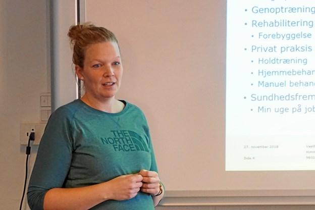 Sanne Schou, Vesthimmerlands Kommune, repræsenterede fysioterapeutuddannelsen i forbindelse med praktikdagen på Vesthimmerlands Gymnasium og HF.  Privatfoto