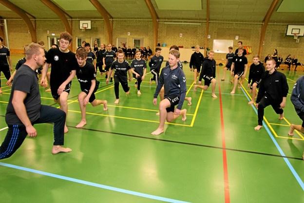Der øves i hallen. Foto: Flemming Dahl Jensen Flemming Dahl Jensen