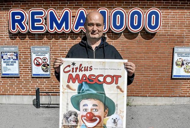 Jens Vestergaard og Rema 1000 er klar til 6. år med Cirkus Mascot i Hurup 19. september. Foto: Ole Iversen