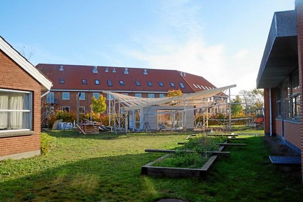 Nørtlehuset ligger mellem Skolen, Pleje- og Aktivitetscenter og Rehabiliteringscentret. Privatfoto
