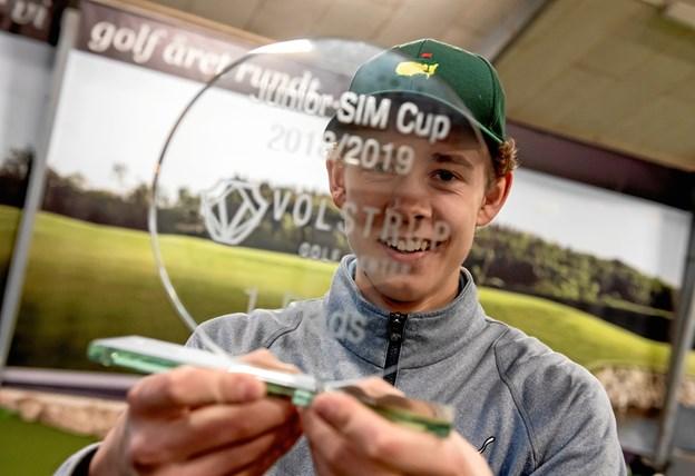 Junior Sim Cup 2018/2019 blev vundet af Mathias Oddershede, Hjørring Golfklub. Privatfoto René Schütze