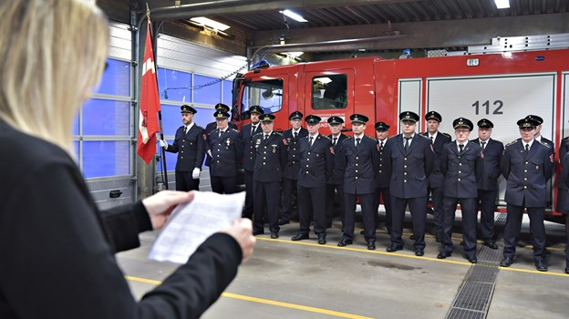 Nytårsparole på brandstationen i Frederikshavn. Foto: Bente Poder