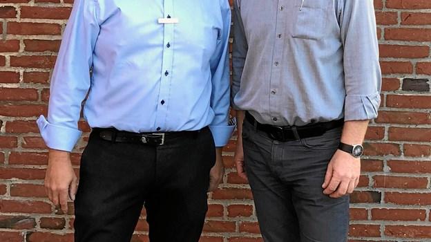 Afdelingsdirektør Jens Buje og ny souschef Thomas Møller Petersen - nyt ledelsesteam i Nordjyske Bank i HirtshalsPrivatfoto