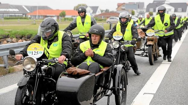 178 motorcyklister gjorde Kristi-Himmelfartsdag stop ved færgen i Hals. Foto: Allan Mortensen