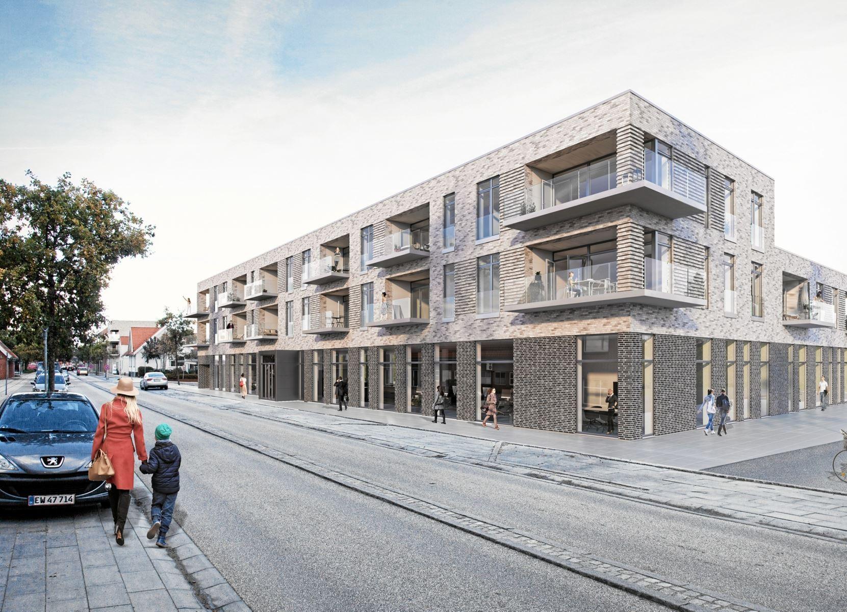 Prisen for hele ejendommen i centrum af Støvring med 14 lejeboliger og et stort erhvervslejemål i stueetagen er godt 55 mio.