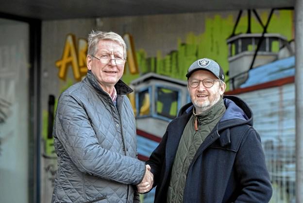 Niels Pehrsson fra Jazz 9700 og Jens Ole Amstrup fra Det Musiske Hus satser på mere samarbejdet om jazz i fremtiden. Privatfoto