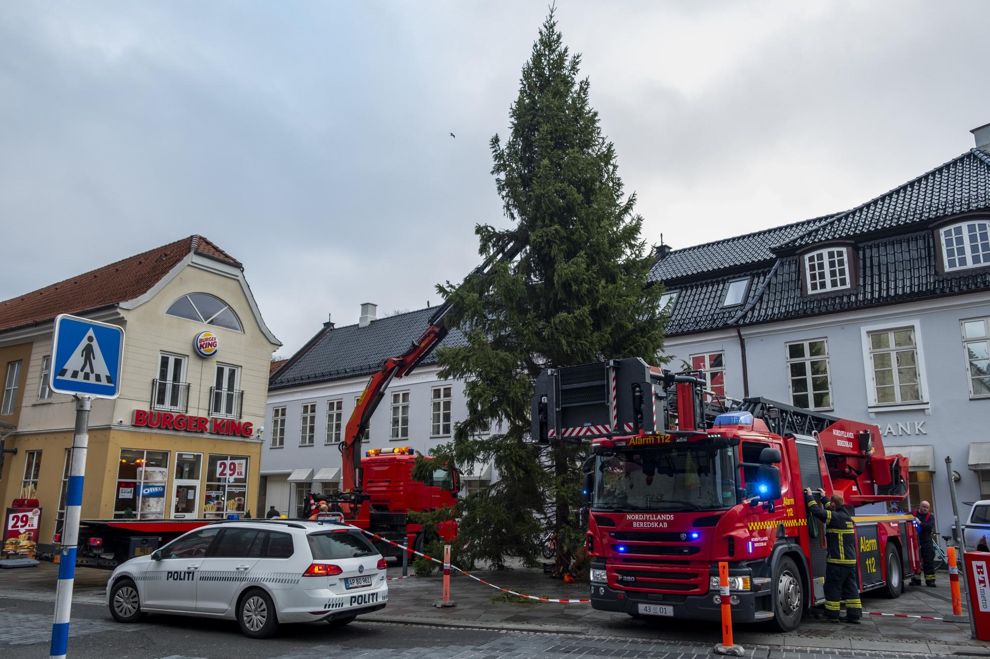 Det kræver tungt grej at få juletræet på plads. Foto: Lasse Sand