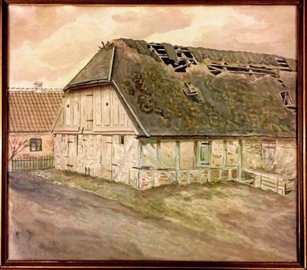 Christen Jensens andet pakhus (omtalt i artiklen) malet af Lars Nielsen. Privatfoto xx