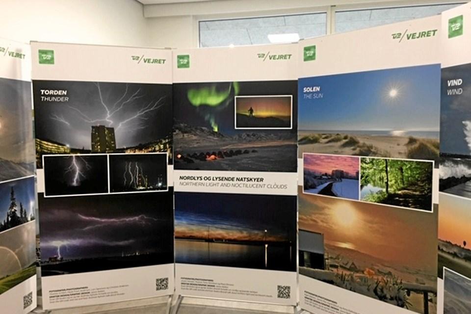 Vejrbilleder udstillet på Ålbæk Bibliotek Foto: Frederikshavn Bibliotek
