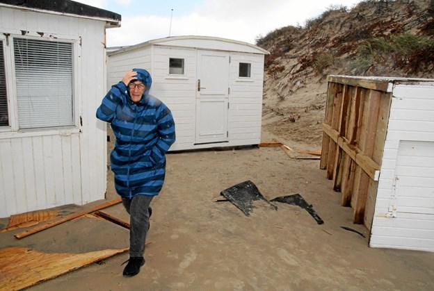 Stor ødelæggelse på Blokhus strand. Foto: Flemming Dahl Jensen