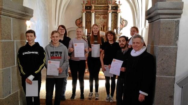 Der var reception for de unge i Brønderslev Gl. Kirke. Privatfoto