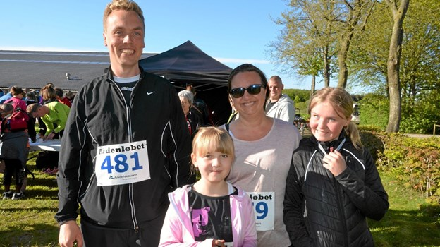Familien Juhl fra Rold deltog sammen - fra venstre: Thomas, Anna, Tina og Marie. Foto: Jesper Bøss Jesper Bøss