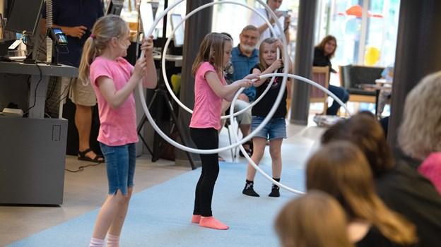Cirkusskoleeleverne viste deres evner efter en uges sommerskole fredag eftermiddag i uge 28Foto: Bente Poder