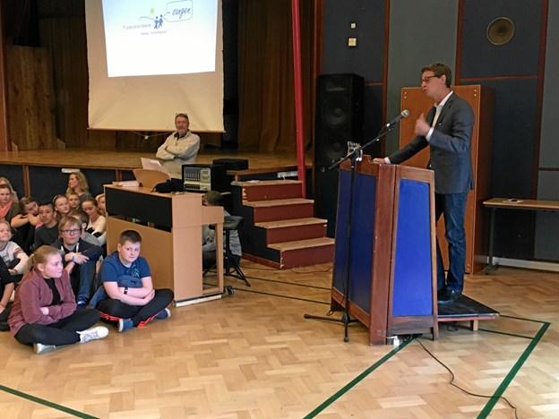 Frydenstrandskolen deltog også i 2017, hvor eleverne ovenikøbet fik besøg af skatteminister Karsten Lauritzen (V). Privatfoto