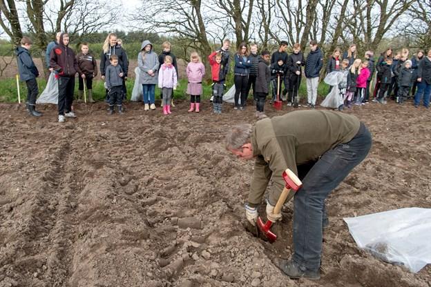 Naturvejleder Lars Wachmann fra Naturstyrelsen Himmerland instruerede eleverne i hvordan de små løvtræer skulle plantes korrekt i muldjorden.