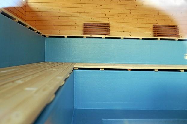 Der er plads til cirka 25 i den nye sauna. Foto: Allan Mortensen