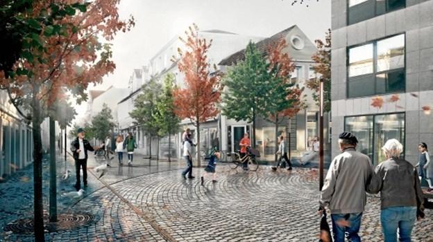Og sådan her vil byrummet ved Thuesen Bergs Gade blive